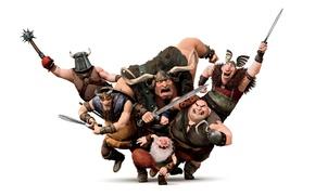 Обои атака, мультфильм, воины, рапунцель, викинги