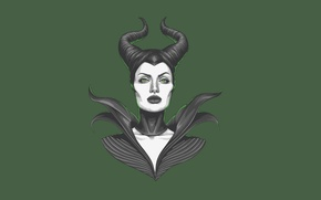 Картинка девушка, Анджелина Джоли, Angelina Jolie, зеленый фон, Maleficent, Малефисента
