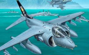 Картинка небо, вода, берег, рисунок, корабли, залив, боевые, самолёты, штурмовики, многоцелевые, Harrier II, AV-8B, McDonnell-Douglas