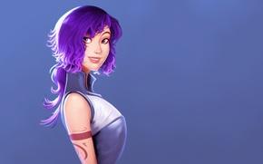 Картинка девушка, улыбка, рисунок, арт, art, фиолетовые волосы, пустой фон, by Raichiyo33
