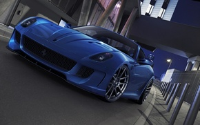 Картинка car, машина, авто, Феррари, Ferrari, суперкар, supercar, синяя, 599, blue, GTO, avto, deep blue