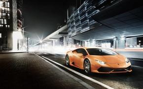 Картинка Ночь, Lamborghini, Улица, Ламборджини, Суперкар, Night, Street, Supercar, LP 610-4, Уракан, Huracan