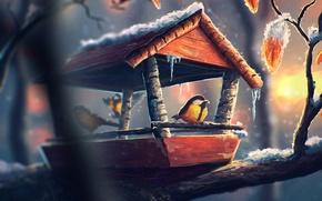 Картинка синица, холод, снег, арт, лед, птица, кормушка