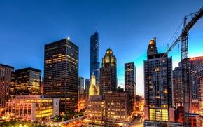 Картинка свет, город, огни, здания, дороги, дома, небоскребы, вечер, освещение, Чикаго, USA, США, Иллинойс, Chicago, Illinois, …