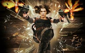 Картинка стекло, полет, осколки, оружие, фантастика, стрельба, гильзы, Милла Йовович, Milla Jovovich, Resident Evil: Afterlife, Обитель …