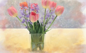 Картинка цветы, букет, тюльпаны, колокольчики