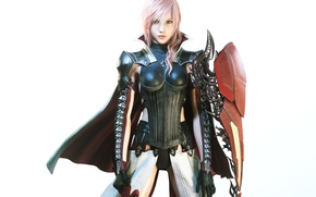 Обои взгляд, девушка, Молния, броня, Final Fantasy XIII, Последняя Фантазия 13, Lightning, Square Enix, NeoGAF, Lightning ...