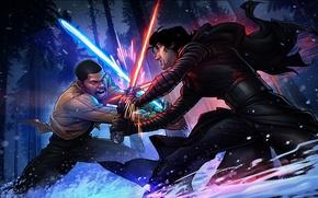 Обои Patrick Brown, PatrickBrown, Звёздные войны: Пробуждение Силы, Finn, Kylo Ren, star wars 7, The Force ...