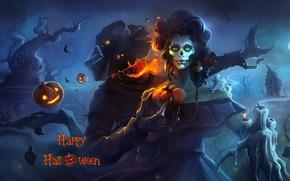 Обои ночь, девушка, тыква, Halloween, чучело, арт, праздник, смерть, взгляд, шляпа