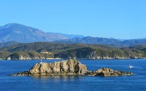 Картинка море, небо, горы, скалы, остров, яхта, катер
