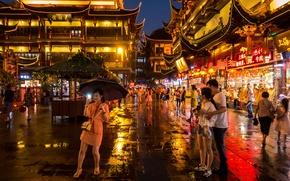 Картинка люди, города, зонтики, Китай, Шанхай, улицы, магазины, быт, рестораны, квадратные