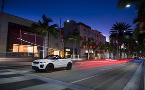 Картинка город, вечер, Land Rover, Range Rover, кабриолет, Evoque, эвок, ленд ровер, рендж ровер