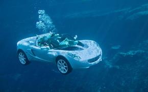 Обои машина, водолаз, под водой
