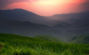 Картинка горы, китай, поля
