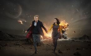 Картинка девушка, взрыв, фантастика, пустыня, планета, актриса, актер, мужчина, Doctor Who, Доктор Кто, Peter Capaldi, Питер …