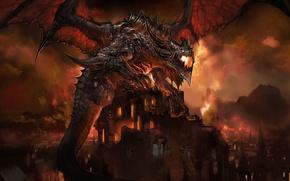 Картинка Red, Dragon, Fire, Flames, Buildings, Burning