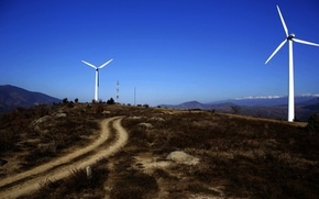 Картинка sky, Europe, hill, Bulgaria, wind turbines, turbines, Stara Kresna, Blagoevgrad Province, Kresna Municipality