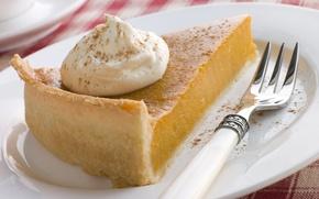 Обои cream, food, plate, десерт, вилка, dessert, cake, сладкое, fork, тарелка, sweet, еда, крем, 1920x1200, пирог