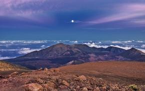 Обои горы, природа, панорама, небо, луна