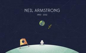 Картинка Земля, астронавт, Луна, Нил Армстронг, Neil Armstrong