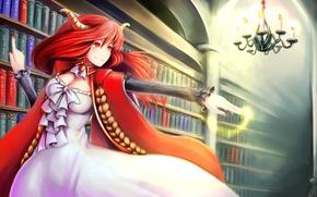 Картинка девушка, магия, книги, арт, люстра, рога, рыжая, библиотека, красные глаза, полки, maoyuu maou yuusha, seisetu, …