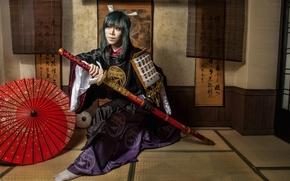 Картинка девушка, лицо, стиль, одежда, катана, кимоно, азиатка