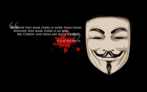 Картинка свобода, фон, черный, маска, freedom, цитата, v значит вендетта