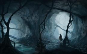 Картинка оружие, человек, меч, арт, туман, деревья, лес