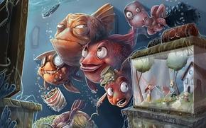 Обои арт, люди, телевизор, рыбы, семья, подводный мир, осьминог, аквариум, юмор