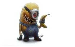 Картинка взгляд, мультфильм, монстр, зубы, зомби, банан, Миньон, Minion