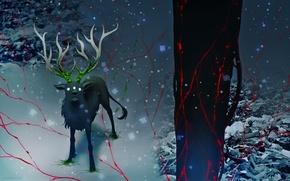 Картинка снег, дерево, животное, радиация, олень, арт, романтика апокалипсиса, romantically apocalyptic, alexiuss