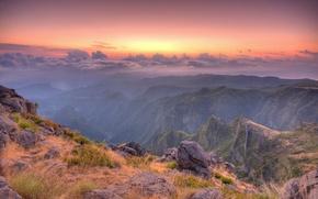 Обои облака, склон, камни, Горы