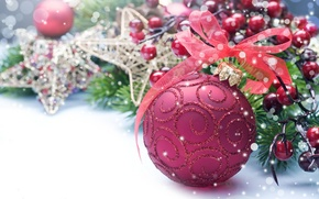 Картинка праздник, игрушки, новый год, шар, лента, декорации, happy new year, christmas decoration, новогодние обои, christmas …