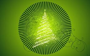 Картинка праздник, елка, новый год, зеленый фон