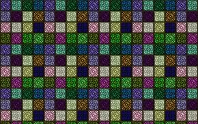 Обои разноцветные, сетка, стена, фон, орнамент, квадратики, рисунок, решётка, клетка, текстуры