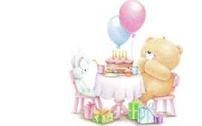 Картинка шарики, друг, настроение, день рождения, праздник, подарок, свечи, кролик, арт, мишка, тортик, детская, Forever Friends …