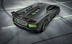 Картинка Lamborghini, Light, Carbon, Green, LP700-4, Aventador, 2014, Limited, Rear, HAMANN