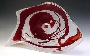 Картинка стекло, абстракция, хрусталь, декор, Гусь-Хрустальный, красные пятна на белом