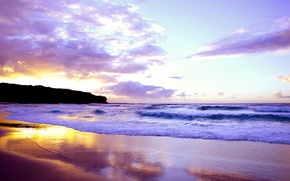 Картинка море, волны, небо, пейзаж, закат, берег, красиво