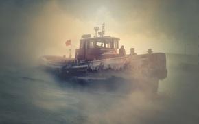 Картинка зима, туман, буксир, мороз, Миннесота, Minnesota, стужа, Lake Superior, Duluth, Дулут, озеро Верхнее, Великие озёра, …