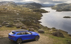 Картинка синий, англия, Jaguar, concept, концепт, crossover, sports, c-x17