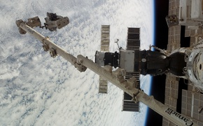 Картинка Космос, МКС, манипулятор, планета Земля