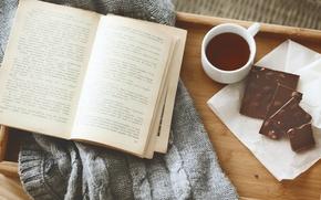 Картинка уют, чай, шоколад, чашка, книга, свитер, поднос