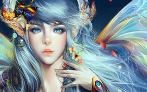Картинка девушка, бабочки, цветы, крылья, лепестки, арт, angelos