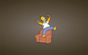 Картинка диван, Симпсоны, минимализм, кресло, пульт, банка, гомер, The Simpsons, Homer Simpson, веселуха