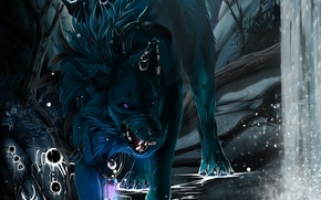 Картинка черный, водопад, волк, клыки, art, wolfroad
