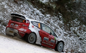 Картинка зима, снег, Ford, гонщик, WRC, Rally, Евгений Новиков, Ford Fiesta rs, Чемпионат мира по Ралли