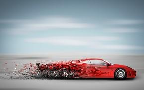 Обои скорость, кусочки, машина