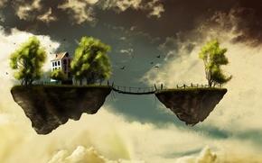 Картинка небо, птицы, тучи, мост, земля, домик