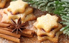 Обои праздник, новый год, сладости, декорации, happy new year, christmas decoration, новогодние обои, christmas color, печенья